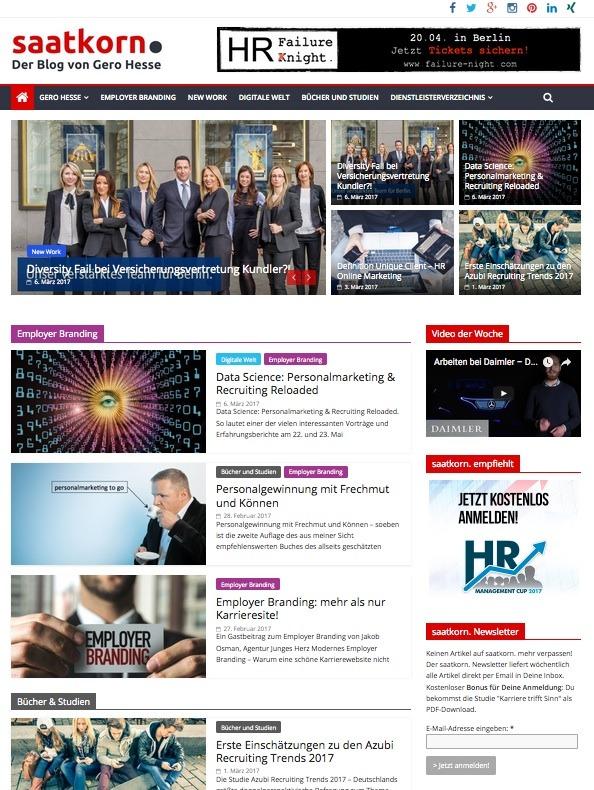 Neben den beruflichen Aktivitäten schreibt und informiert Gero Hesse sehr inspirierend in seinem Blog saatkorn.com